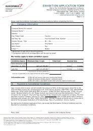 exhibition application form - Mondial Congress Management - PCO