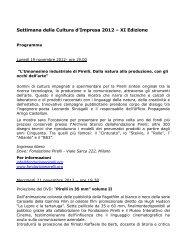 Settimana della Cultura d'Impresa 2012 – XI Edizione - Visita Milano