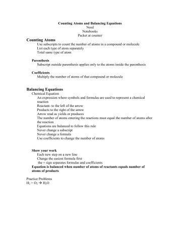 14b Balancing Chemical Equations Cpo Science