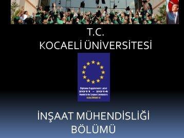 İnşaat Mühendisliği - Mühendislik Fakültesi - Kocaeli Üniversitesi