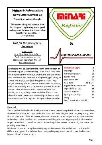 Newsletter 63 - June 2008