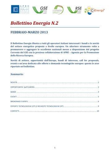 Bollettino Energia N.2 FEBBRAIO-MARZO 2013 - Corrente - Gse