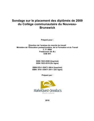 Sondage de 2010 sur le placement des diplômés de 2009 du ...