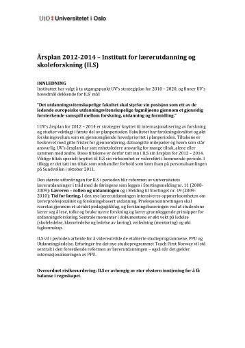 Årsplan 2012-2014 - Det utdanningsvitenskapelige fakultet ...