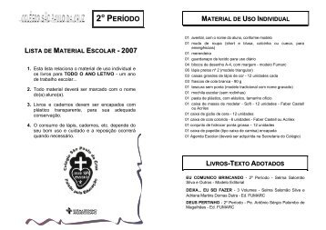 2º período material de uso individual - Colégio São Paulo da Cruz