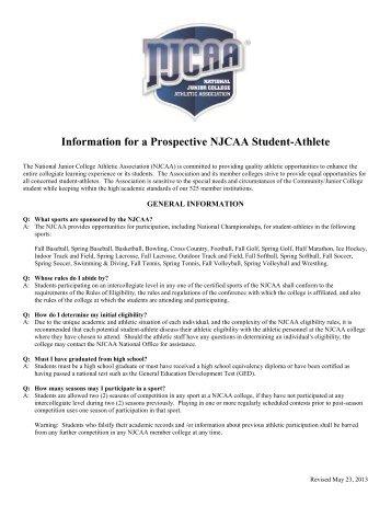 Letter Of Intent/Scholarship Agreement   NJCAA