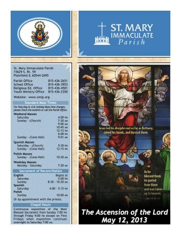 The Ascension of the Lord May 12, 2013 - St Mary Immaculate Parish