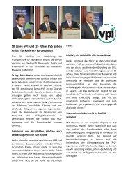50 Jahre VPI und 15 Jahre BVS geben Anlass für konkrete ...