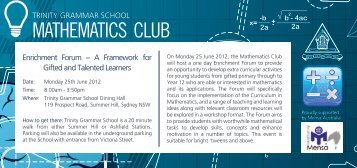 MATHEMATICS CLUB - Trinity Grammar School