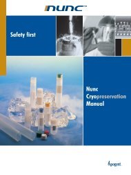 Safety first Nunc Cryopreservation Manual