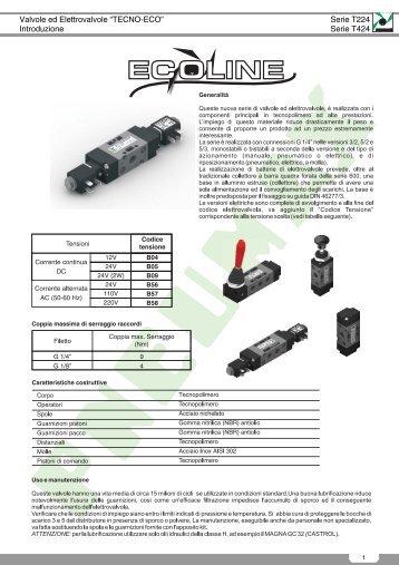 """Valvole ed Elettrovalvole """"TECNO-ECO"""" Introduzione ... - Pneumax"""