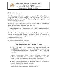 Externato da Luz – Ano Lectivo 2010 / 2011 Critérios de Avaliação ...