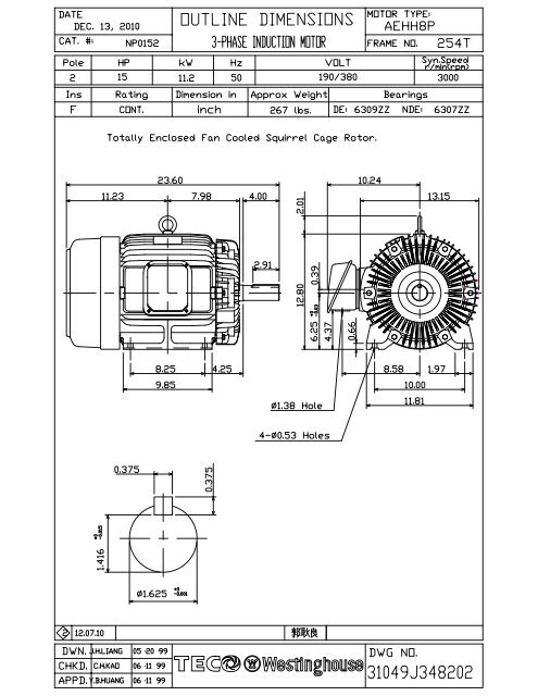50hz submittal data  10 sf  tecowestinghouse motor company