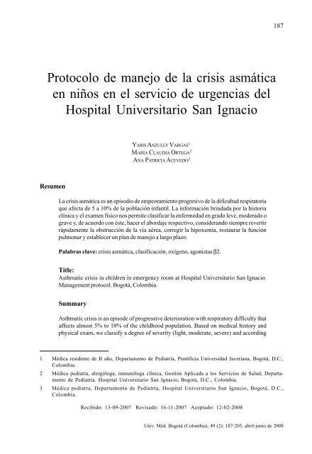 Protocolo De Manejo De La Crisis Asmã Tica En Niã Os En El Servicio