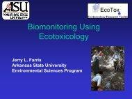 Biomonitoring Using Ecotoxicology - Arkansas State University