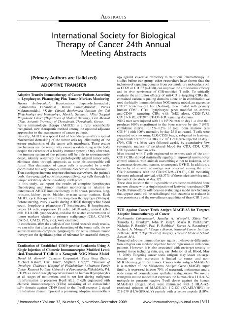 Download 2009 Abstracts - Society for Immunotherapy of Cancer
