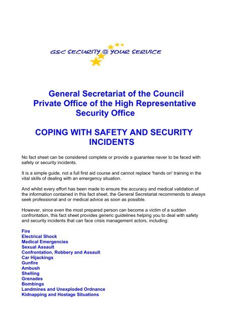 Coping with Safety and Security Incidents - Eulex