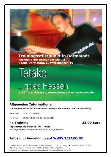 Trainingsstützpunkt in Darmstadt - Tischtennisschule TeTaKo