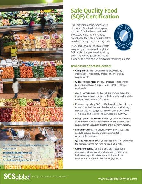 Safe Quality Food (SQF) Certification - SCS Global Services