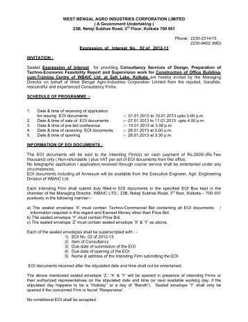 Expression of Interest No. 02 - West Bengal Agro Industries ...