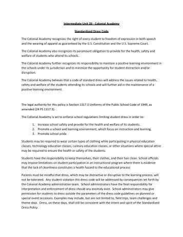Dress Code Specifics - Colonial Intermediate Unit 20
