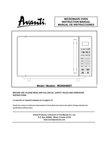 MO8004MST MICROWAVE OVEN INSTRUCTION ... - Avanti Products