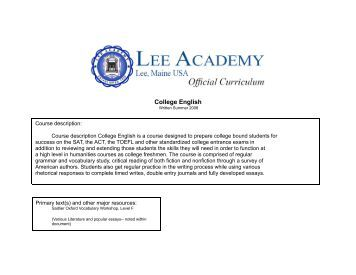College English - Lee Academy