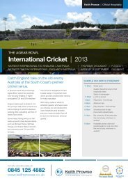 International Cricket | 2013 - Keith Prowse