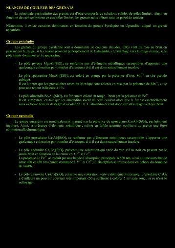 NUANCES DE COULEUR DES GRENATS La principale ...
