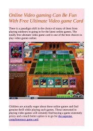 Online Video gaming Can Be Fun With Free Ultimate Video game Card