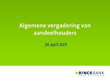 Presentation Annual General Shareholder Meeting - at BinckBank