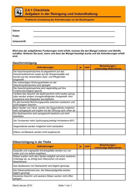 Berühmt 2.4.1 Checkliste Aufgaben in der Reinigung und Instandhalt… - Groma PM99