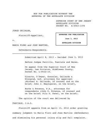 Grijalba v. Floro - Appellate Law NJ Blog