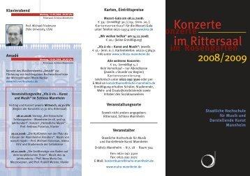 Konzerte im Rittersaal - Staatliche Hochschule für Musik und ...