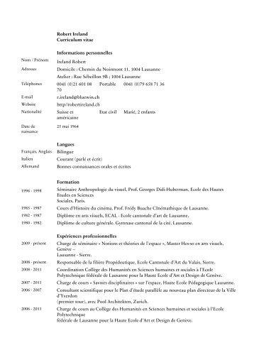 Robert Ireland Curriculum vitae Informations personnelles ... - ECAV