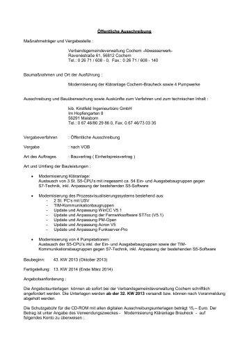 Modernisierung der Kläranlage Cochem-Brauheck sowie 4 ...