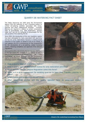 Quarry De-Watering Guidance Fact Sheet. - GWP Consultants LLP ...