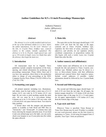 Author Guidelines for 8.5 x 11-inch Proceedings Manuscripts