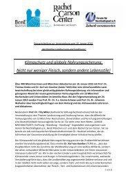Klimaschutz und globale Nahrungssicherung ... - BenE – München