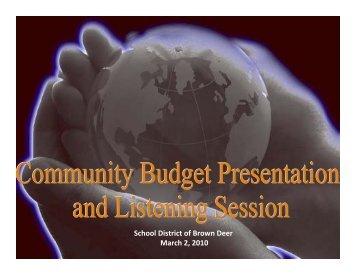 Budget Presentation - Brown Deer School District