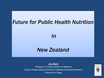 Future for Public Health Nutrition in New Zealand