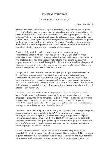 VISIÓN DE ETERNIDAD Extracto de un texto más largo [1] Alberto ...
