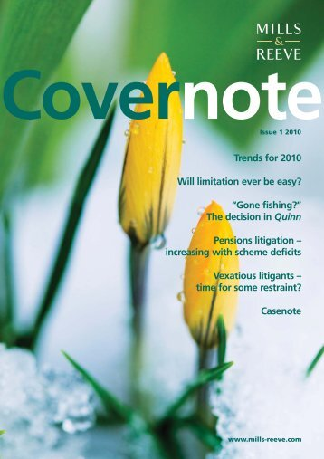 Covernote - Issue 1 2010 - Mills & Reeve