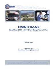 Short Range Transit Plan 2006-2011 - Omnitrans