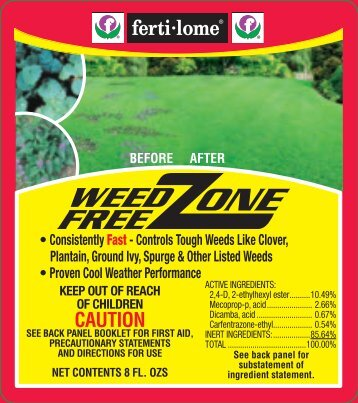 Label 10523 Weed Free Zone Approved 6-14-12 - Fertilome