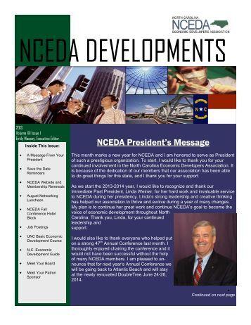 July 2013 Newsletter - North Carolina Economic Developers ...