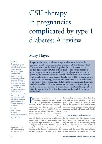 CSII therapy in pregnancies complicated by type 1 diabetes: A review