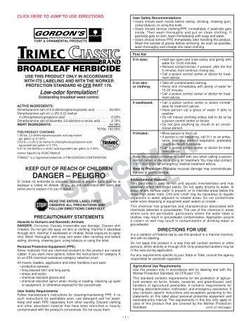 Trimec Classic Specimen Label - Mug-A-Bug Pest Control