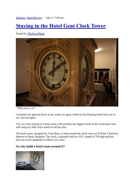 Staying in the Hotel Gent Clock Tower - Visit Gent