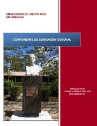Componente de Educación General de la UPR - Biblioteca ...